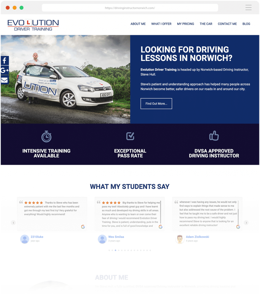 Norwich Web Design for Evolution Driver Training a Norwich-based driving school